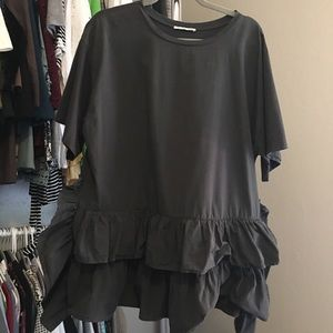 Zara Ruffled Gray Top